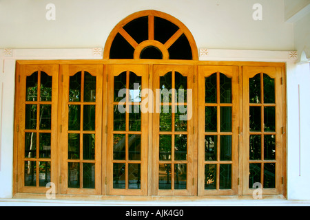 Glass windows of a modern house kerala stock photo for Window design new model