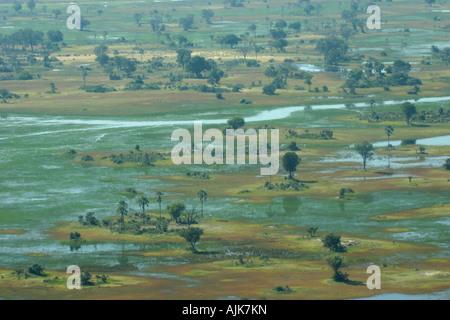 Aerial view of the Okavango Delta, Botswana - Stock Photo