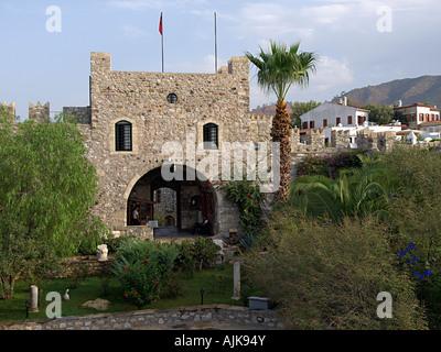 CASTLE BATTLEMENTS AND MAIN ENTRANCE, MARMARIS, TURKEY - Stock Photo