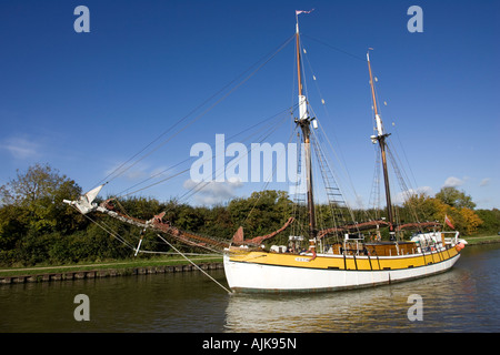 The tall ship Ruth a gaff rigged ketch on Sharpness Canal after leaving Gloucester Docks Cotswolds UK - Stock Photo