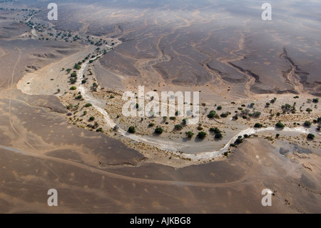 Aerial view of dry river bed, Namib Naukluft Park, Namibia - Stock Photo