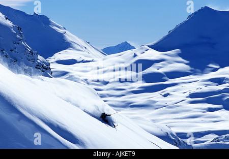 Skier James Vernon off piste in Tignes France - Stock Photo