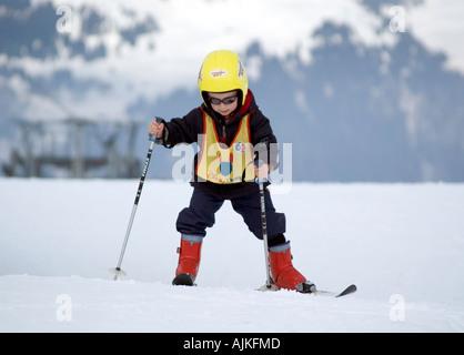Learning to ski - Stock Photo