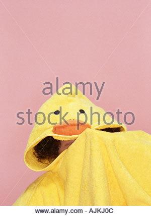 Girl in a duck bathrobe - Stock Photo
