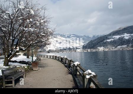 Scenic view of Zeller See lake, Zell am Zee ski resort, Austria. - Stock Photo