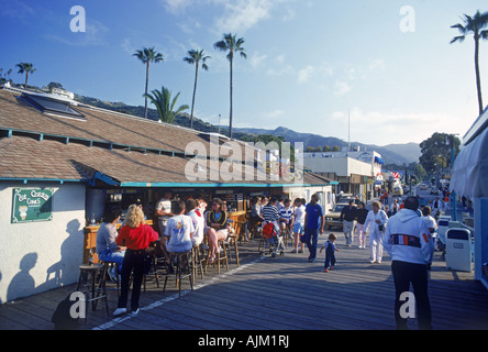 Waterfront cafes, coffee shops and restaurants at Avalon Bay on Catalina Island, California - Stock Photo