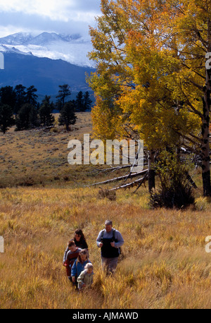 A family of five hiking in a meadow amidst fall color in Rocky Mtn Nat l Park CO - Stock Photo