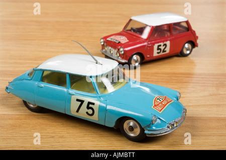 Citroen DS 19 Monte Carlo  Rally car Corgi Diecast no.323 and Mini Cooper S Corgi  Diecast model no.321 - Stock Photo