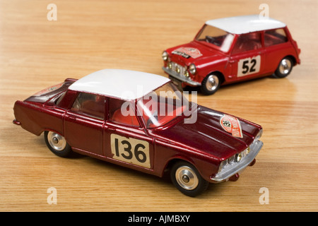 Rover 2000 Monte Carlo Rally. Corgi Diecast model no.322 and Mini Cooper S Corgi  Diecast model no.321 - Stock Photo