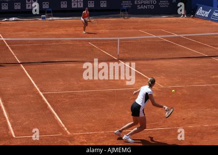 Estoril Open 2007 - Women's 1st round qualifying - Selima Sfar vs Renata Voracova - Stock Photo