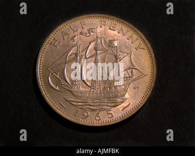 Half Penny Pre Decimalisation British Coin - Stock Photo