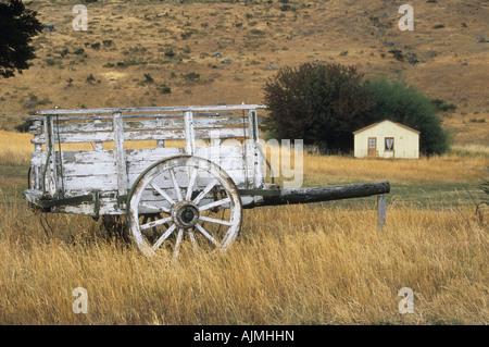 Abandoned old fashioned cart on Estancia Nibepo Aike, near El Calafate, Patagonia, Argentina - Stock Photo