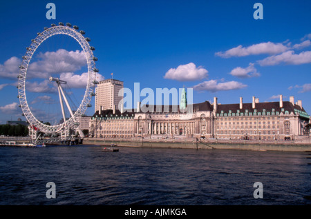 The London Eye ferris wheel and Thames  River  London England - Stock Photo