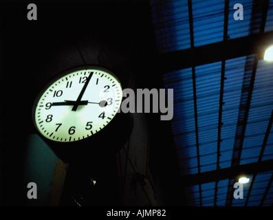 Clock in railroad station - Stock Photo