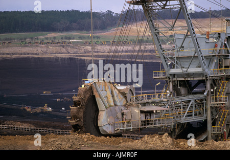 Yallourn Energy electricity power station is fueled by brown coal from adjacent open cut mine, Gippsland,  Victoria, - Stock Photo