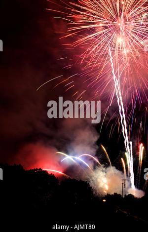 Bastille Day fireworks, Baume Les Dames, July 2005. - Stock Photo