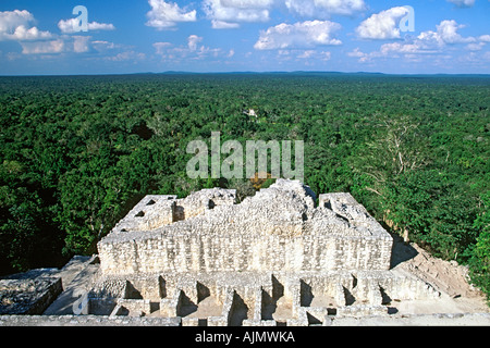 View across the Tierras Bajas rainforest from the top of the Calakmul Mayan ruins in Campeche state in southern - Stock Photo