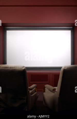 Big Screen TV In Home Theater - Stock Photo