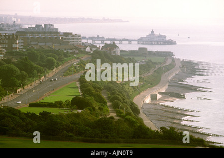 UK England Sussex Eastbourne elevated view of seafront from the downs - Stock Photo
