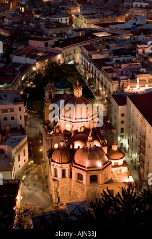 Aerial view of the colonial city of Guanajuato at dusk from El Pipila monument Guanajuato Mexico - Stock Photo