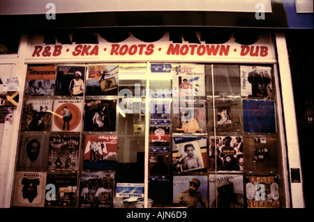 Soul RnB hip hop dance Motown independent speciality record shop Brixton South London - Stock Photo