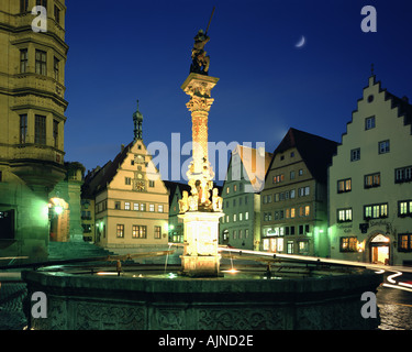 DE - BAVARIA: The Market Square at Rothenburg ob der Tauber - Stock Photo