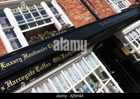 Ye Oldest Chemist Shoppe in England and Lavender Tea Rooms in Knaresborough North Yorkshire UK - Stock Photo