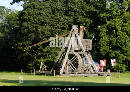 Warwick Castle is home to one of the worlds largest Trebuchet - Stock Photo