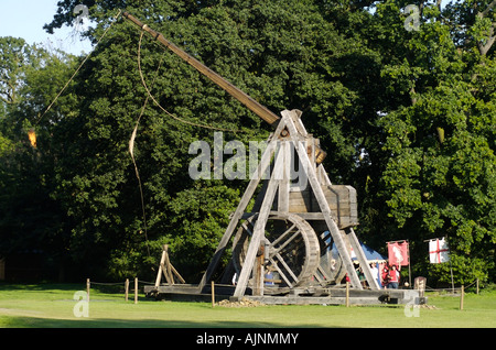 Warwick Castle is home to one of the worlds largest Wooden Trebuchet, Warwick, England, UK - Stock Photo