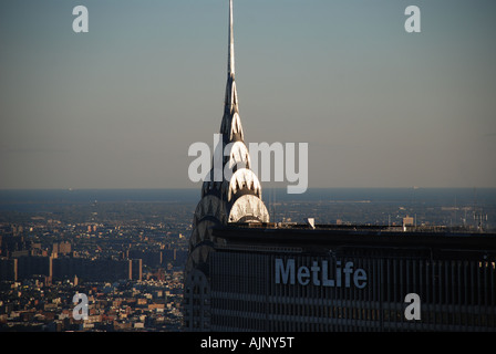 Close-up of The Chrysler spire seen from the Rock (Rockefeller Center), N.Y., USA - Stock Photo