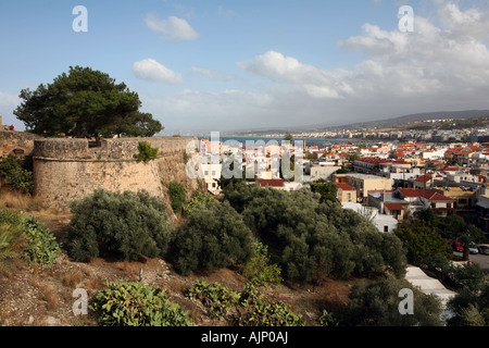View over the Cretan city of Rethymnon from the Fortezza castle - Stock Photo