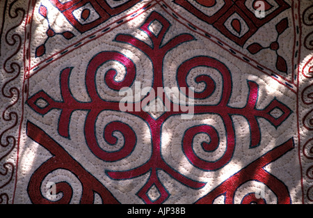 Felt and applique fabric from Xinjiang China Sold in Kashgar and routes along the Karakoram Highway China - Stock Photo