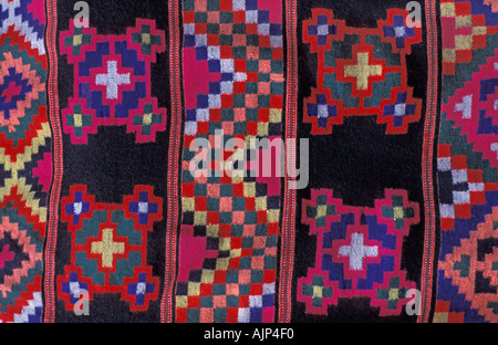 Woven wool and acrylic textile with Geometric motifs from Himachal Pradesh Indian Himalayas India - Stock Photo