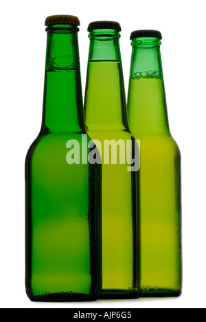 BEER COLORFUL GREEN BOTTLES OF COLD BEER SILHOUETTED ON WHITE BACKGROUND - Stock Photo