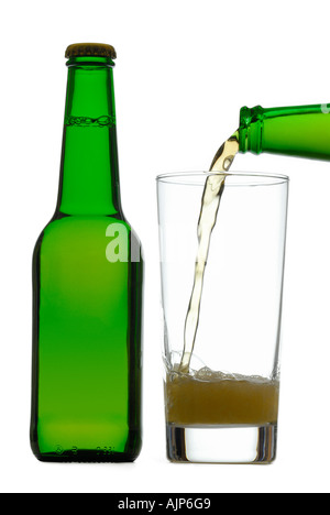 POURING BEER COLORFUL GREEN BOTTLES OF COLD BEER GLASS FULL SILHOUETTED ON WHITE BACKGROUND - Stock Photo