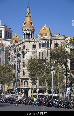 ESP Spanien Barcelona Passeig de Gracia near Plaza de Catalunya Modernism building - Stock Photo