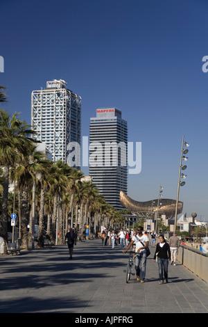 Barcelona beach Platja de la Barceloneta Hotels Arts Sculpture of Frank Gehry - Stock Photo