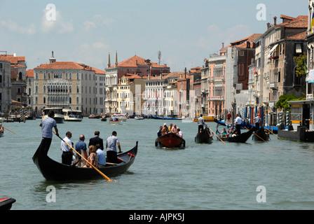 Gondolas Grand Canal Venice Italy - Stock Photo