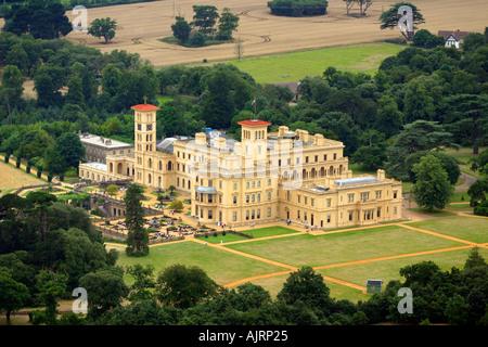 Aerial Osborne House East Cowes Isle of Wight England UK - Stock Photo