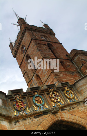 Outer gateway to Linlithgow Palace with the tower of the Church of St Michael, Linlithgow, West Lothian, Scotland, - Stock Photo