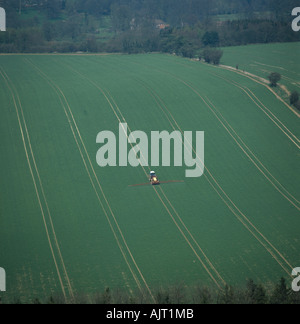 Aerial view of tractor spraying wheat crop along tramlines in spring - Stock Photo