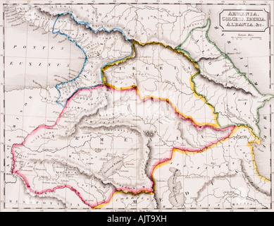 Map of Armenia Colchis Iberia and Albania From The Atlas of Ancient Geography by Samuel Butler published circa 1829 - Stock Photo