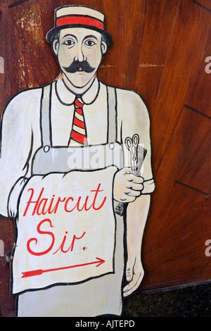 OLD BARBER SHOP SIGN - Stock Photo