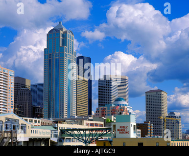 Seattle, WA: City skyline and Pike Place Market from Victor Steinbrueck Park - Stock Photo