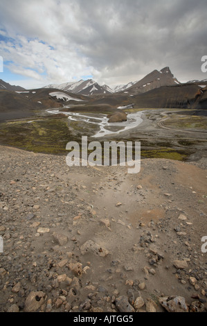 One of the many rivers on Fjallabaksleid road from Landmannalaugar to the Ringroad, Iceland - Stock Photo