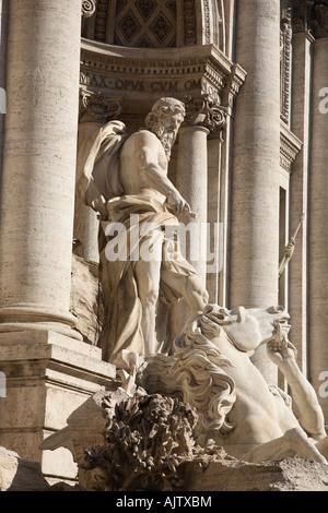 Statue of Neptune Trevi Fountain Rome - Stock Photo