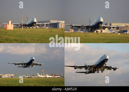 Composite image of British Airways Boeing 747 taking off from runway 27R at London Heathrow Airport, UK - Stock Photo