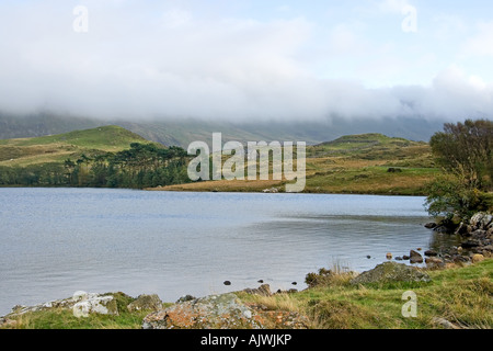 View towards cloud covered Cadair Idris Mountain across Llynnau Creggenen Lake in Snowdonia. - Stock Photo