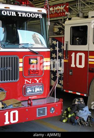 Firetrucks 'Ladder 10' right next to ground zero, NYC