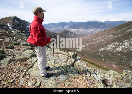Taking in the view of Mt Lafayette from the Bondcliff Trail in New Hampshire s White Mountains  - Stock Photo